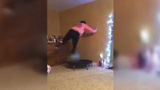 Girl Tries To Balance On Exercise Ball And Fails