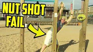 Nutshot Fail At The Beach Gym - IRL Twitch Highlights