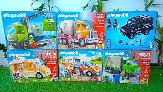 PLAYMOBIL Toys Unboxing Street Vehicles & Construction Truck, Police Car, Ambulance, Garbage Trucks
