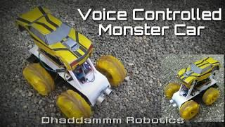 Voice Controlled arduino monster Car | with Code or Google voice App. |
