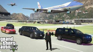 GTA 5 Taking President Trump To The NASCAR Daytona 500 - Air Force One Flyover & Beast Limo Pace Car