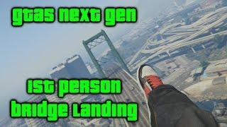 GTA5 Next Gen: First Person Skydiving Stunt - Bridge Landing