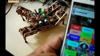 Spider Robot moves with voice commands via smartphone | quadruped robot arduino