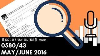 0580/43 May/June 2016 Marking Scheme (MS) *Audio Voice Over
