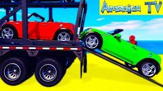 LEARN Numbers vehicle Small CARS on Truck in Spiderman Cartoon for Kids Learn Numbers & Color Video