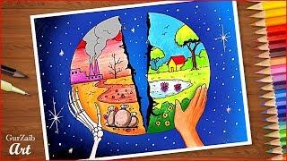 Save Environment Save Earth Drawing Poster Making Ideas For Competition Very Easy Step By Step