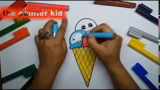 how to draw ice cream for kids | coloring instruction | EASY & SLOWLY | step by step for kids